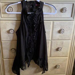 Black sheer & lace sleeveless blouse